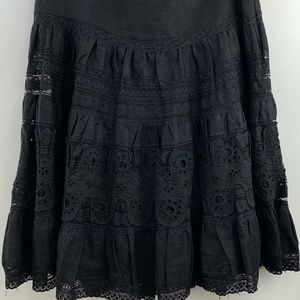 Sundance Catalog Womens Lace Flare Ruffle Skirt